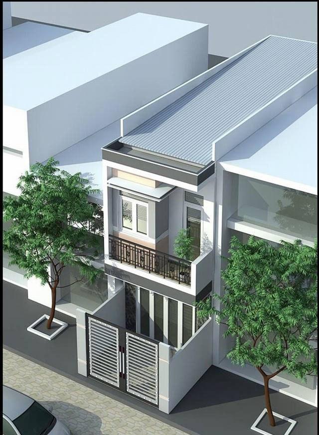 Mẫu nhà ống 2 tầng mái tôn hiện đại
