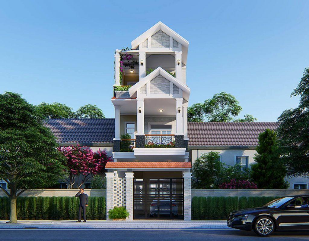 Mặt tiền mẫu nhà phố 3 tầng 5 × 20