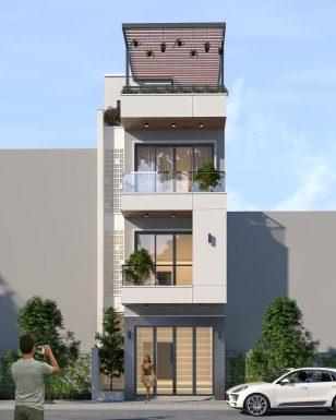 Mẫu nhà 3 tầng 1 tum mặt tiền 4m hiện đại tại Bắc Ninh