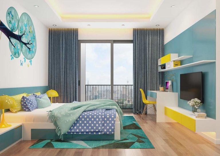Phòng ngủ con trai nổi bật với tông xanh ngọc lục bảo