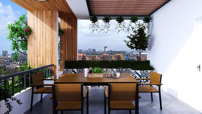 Sân thượng thoáng mát với vườn cây xanh mát.