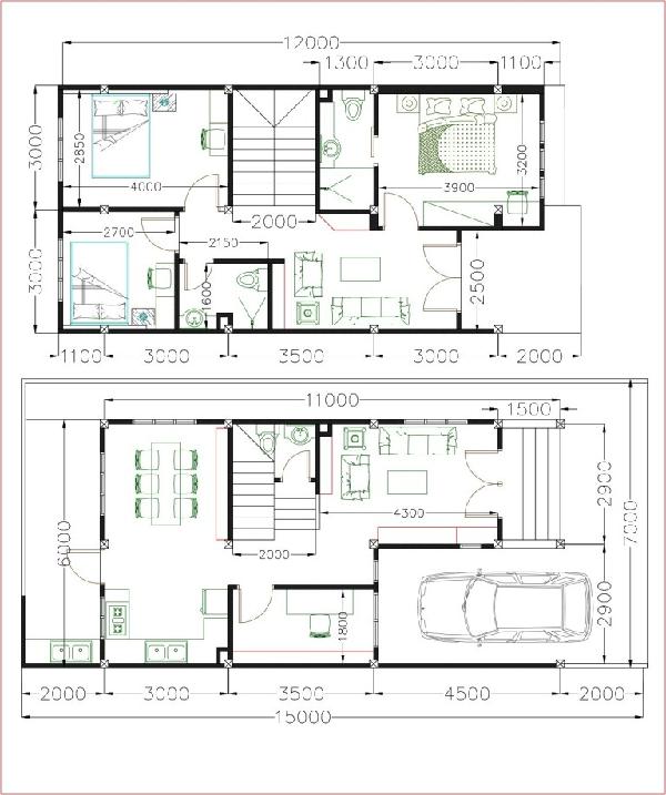 Mặt bằng lát cắt tầng 1 sẽ bố trí: 1 gara oto, 1 phòng khách, 1 bếp + ăn, 1 phòng đọc sách, 1 nhà vệ sinh