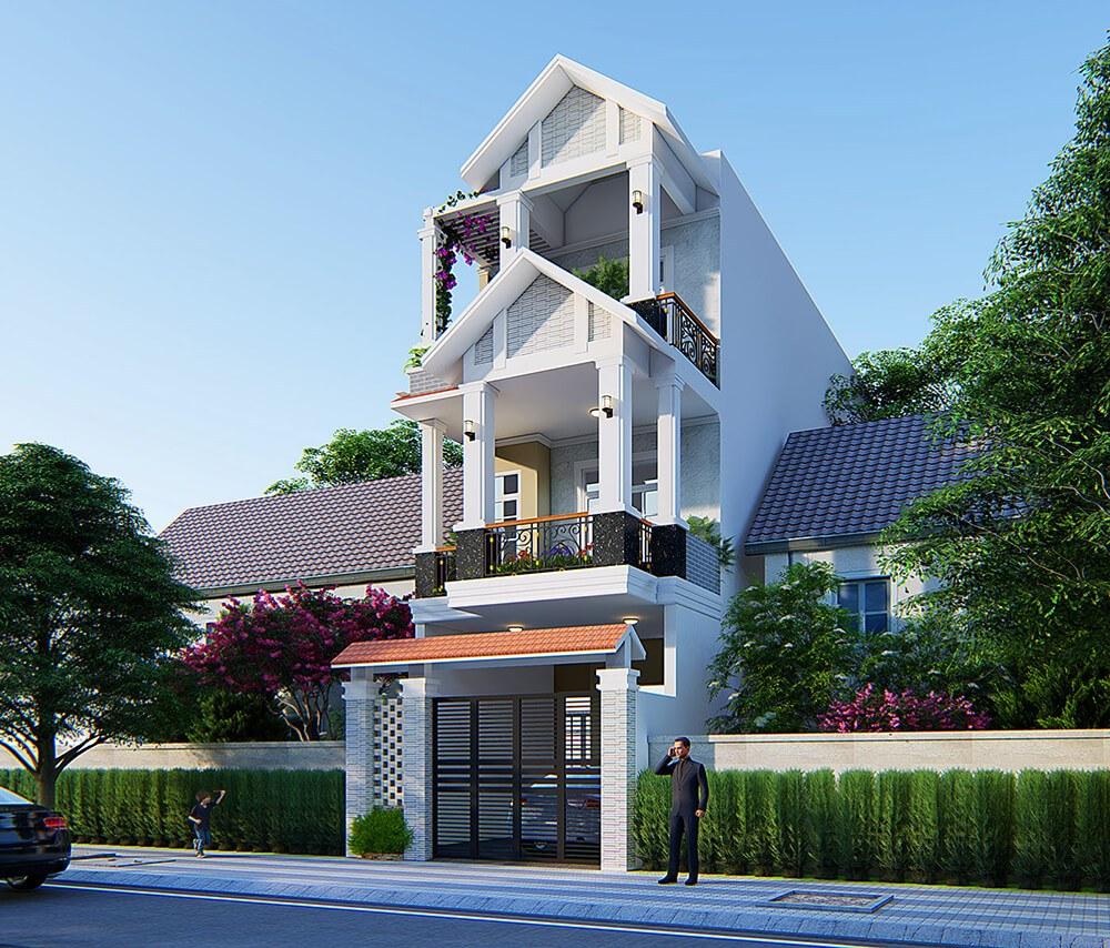 Mẫu nhà phố 3 tầng 5x20m ở Hoài Đức