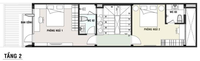 Bản vẽ bố trí mặt bằng tầng 2 nhà ống 3 tầng 4x18m