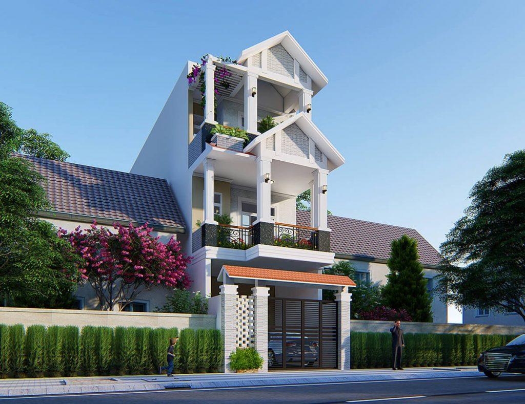 Mặt bằng công năng mẫu nhà phố 3 tầng mái thái hiện đại