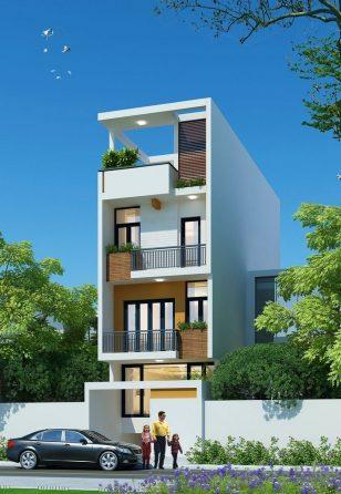 Thiết kế mẫu nhà ống 3 tầng 4 phòng ngủ có tầng hầm hiện đại tại Ninh Bình