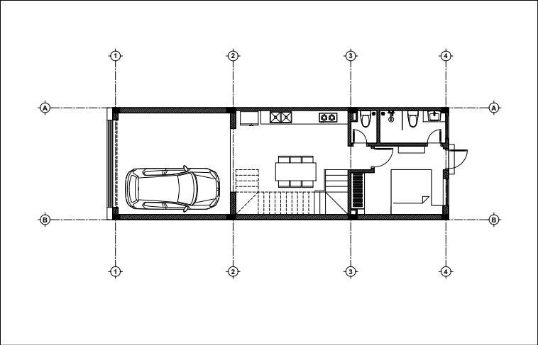 Mặt bằng công năng tầng 1 mẫu nhà ống 3 tầng 1 tum mặt tiền 4m hiện đại.