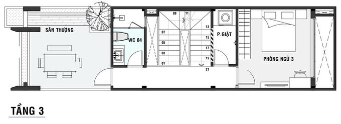 Bản vẽ bố trí mặt bằng tầng 3 nhà ống 3 tầng 4x18m