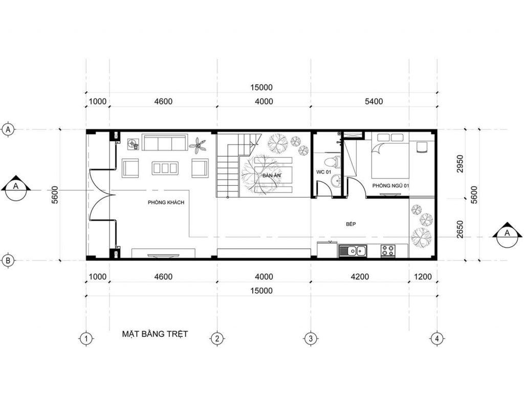Bản vẽ mặt bằng tầng 1 của mẫu nhà ống 3 tầng 5 × 20