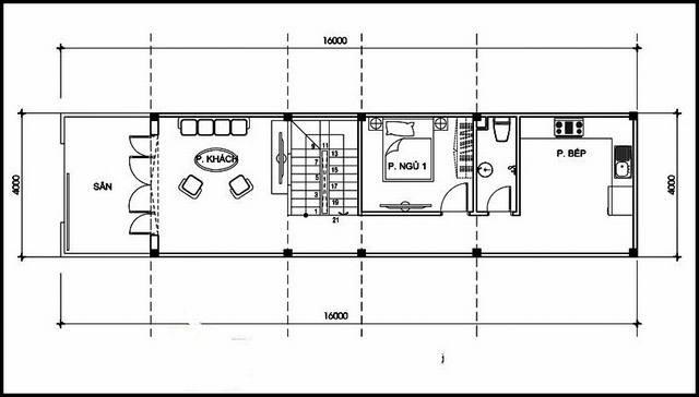 Mặt bằng tầng 1 nhà ống 2 tầng 3 phòng ngủ 1 phòng thờ