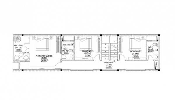 Cách bố trí mặt bằng tầng 2 của mẫu nhà ống 3 tầng hiện đại và khoa học.