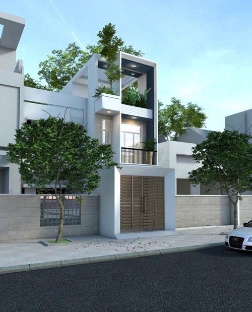 Mặt bằng công năng nhà phố 3 tầng đẹp đơn giản.