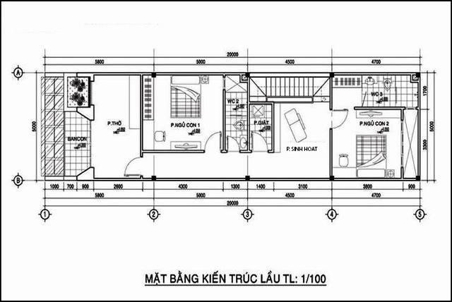 Mặt bằng công năng tầng 1 của mẫu nhà ống 2 tầng mặt tiền 5m.