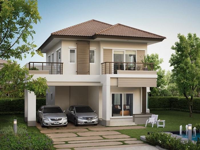 Thiết kế nhà 7x15m 2 tầng cho gia đình 4 người, có 3 phòng ngủ và các không gian tiện ích khác.