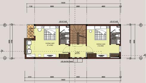 Mặt bằng tầng 2 mẫu nhà ống 3 tầng hiện đại