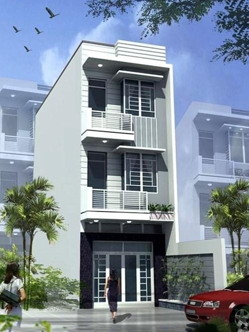 Phối cảnh mặt tiền thiết kế nhà ống 3 tầng phong cách hiện đại ở Ninh Bình