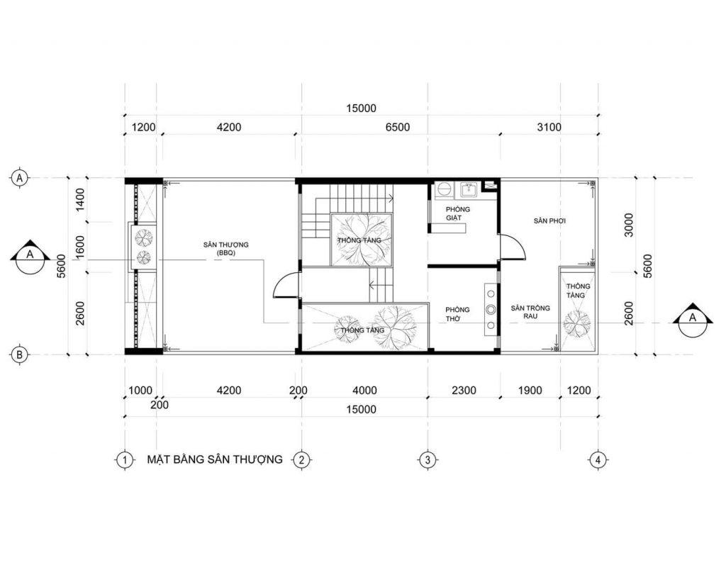 Bản vẽ mặt bằng tầng 3 của mẫu nhà ống 3 tầng 5 × 20