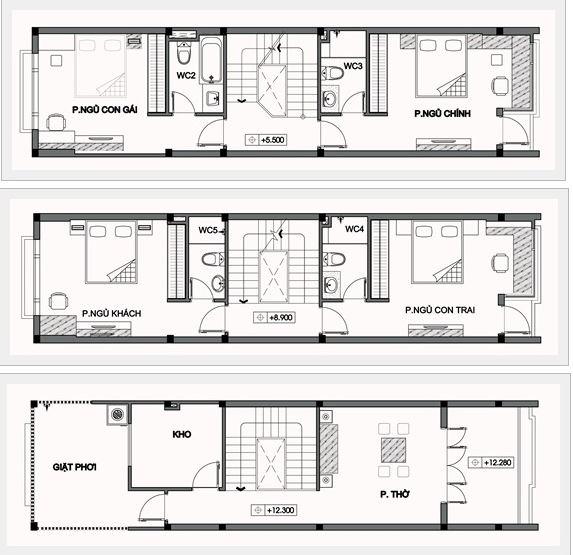 Mặt bằng tầng 2, tầng 3 và tầng áp mái của nhà ống 3 tầng
