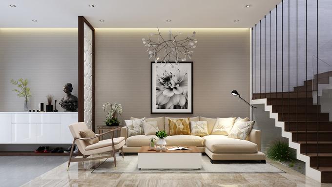 Màu sắc nội thất phòng khách hài hòa và ấm cúng