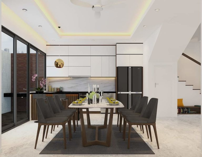 Bộ bàn ăn ấn tượng và thu hút với gam màu xám đen