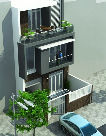 Mẫu 4 - mẫu thiết kế nhà phố 7x15m 3 tầng có gara ô tô