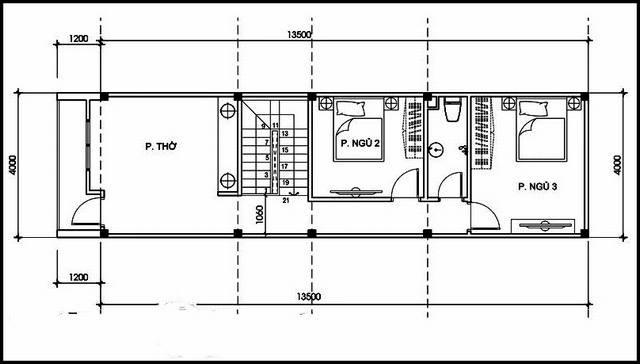 Mặt bằng công năng tầng 2 nhà ống 2 tầng 3 phòng ngủ 1 phòng thờ