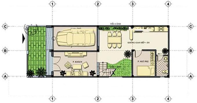 Mặt bằng tầng 1 - Mẫu nhà ống 3 tầng mặt tiền 6m