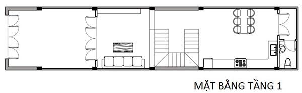 Mặt bằng tầng 1 - Thiết kế nhà ống 3 tàng hiện đại 4x16m