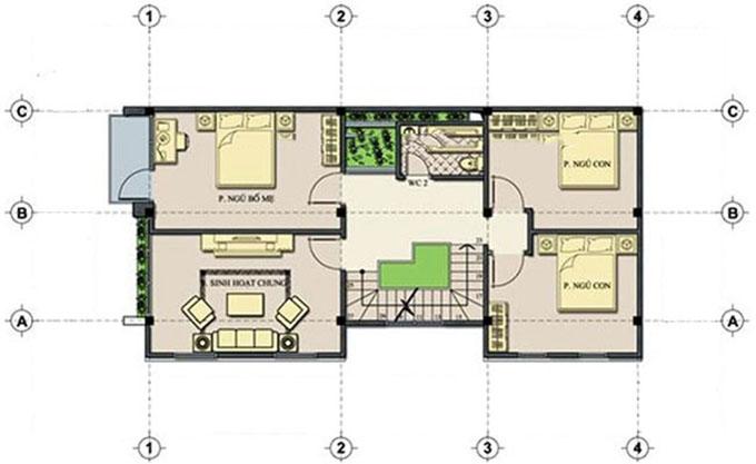 Tầng 2 - Mẫu nhà ống 3 tầng mặt tiền 6m