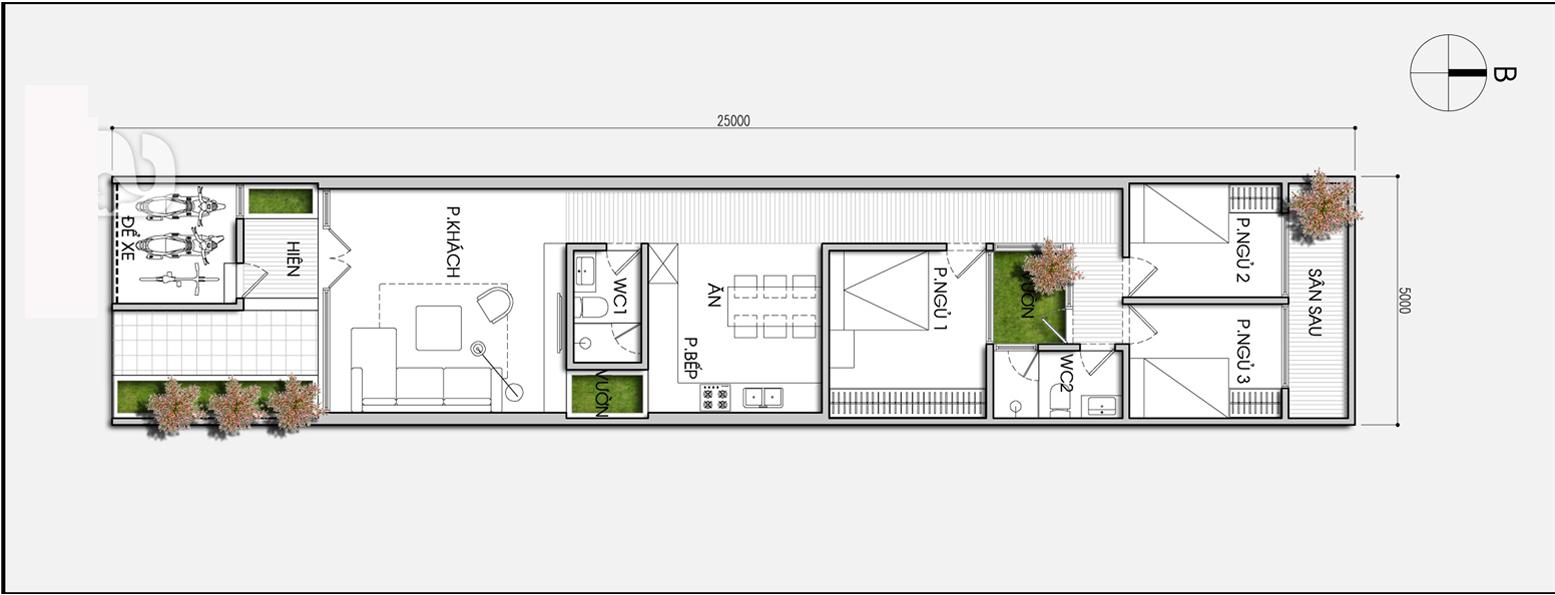 Mặt- bằng-công-năng- dành- cho- mẫu- thiết- kế -nhà- ống- đẹp -cấp 4