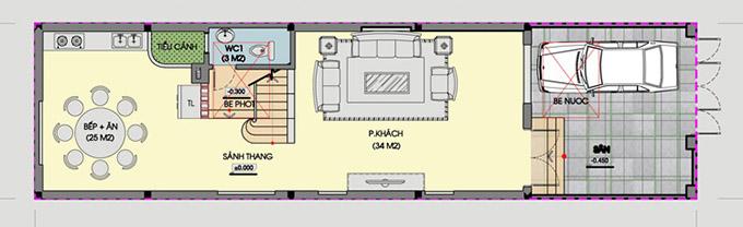 MB tầng 1-Thiết kế nhà ống 3 tầng có giếng trời