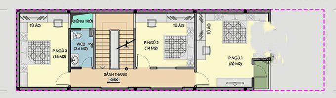 MB tầng 2- Thiết kế nhà ống 3 tầng có giếng trời