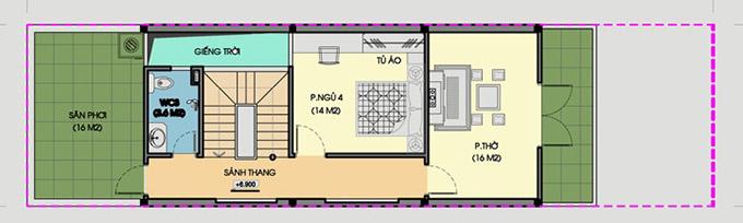 MB tầng 3- Thiết kế nhà ống 3 tầng có giếng trời