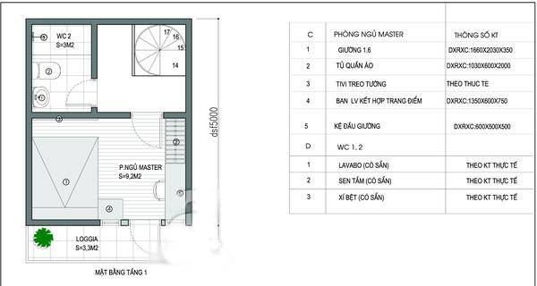 Mặt bằng tầng 1- Mẫu thiết kế nhà ống đẹp 20m2.
