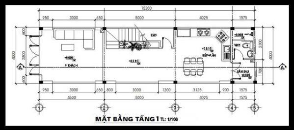 Mặt bằng tầng 1- Mẫu thiết kế nhà ống đẹp 3 tầng nhỏ hẹp