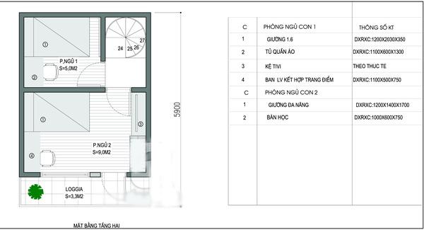 Mặt bằng tầng 2- Mẫu thiết kế nhà ống đẹp 20m2.