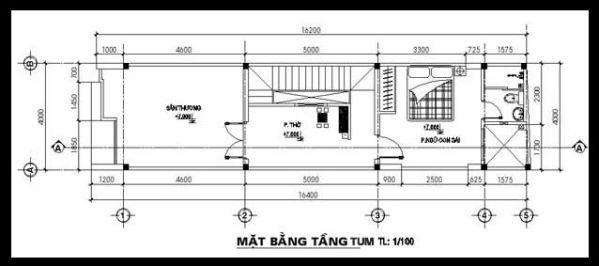 Mặt bằng tầng tum- Mẫu thiết kế nhà ống đẹp 3 tầng nhỏ hẹp.