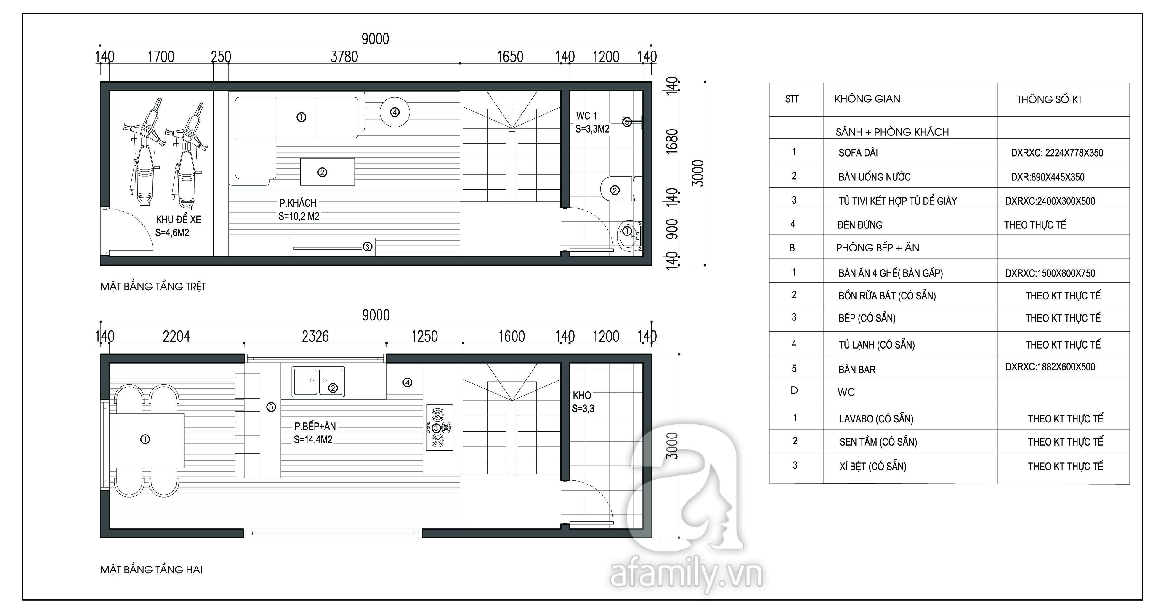 Mẫu thiết kế nhà ống 4 tầng mặt tiền 3m thông thoáng - 1