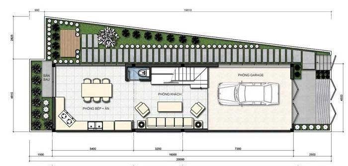 Công năng tầng 1 của mẫu nhà phố nở hậu 4.5x16m có sân vườn