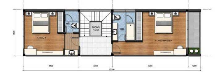 Công năng tầng 3 đua sàn 5x17.2m của căn nhà ống nở hậu 3 tầng 4.5x16m
