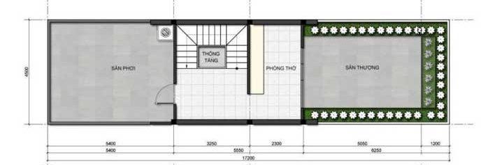 Công năng tầng tum của căn nhà ống nở hậu 3 tầng 4.5x16m có không gian ngoài trời