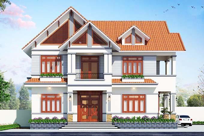 Nhà 2 tầng mái thái với hai mặt tiền đem lại không gian thoáng đãng