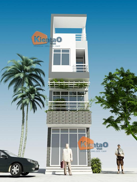 Thiết -kế- nhà- ống- đẹp- 4 tầng