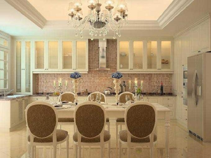 Nội thất phòng ăn mẫu thiết kế nhà ống 4 tầng kiểu Pháp