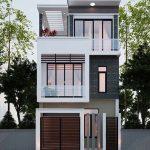 Thiết kế nhà ống 3 tầng 4 phòng ngủ kiểu hiện đại mái bằng