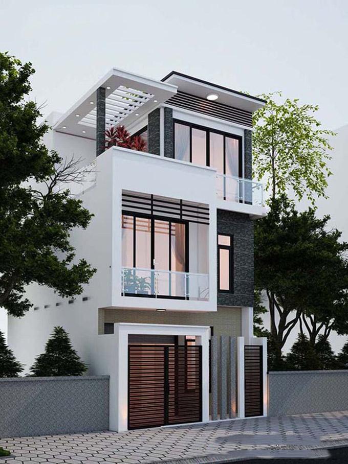 Mẫu thiết kế nhà ống 3 tầng 4 phòng ngủ - PC2