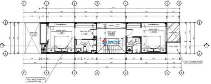 Mẫu nhà ống 4 tầng mặt tiền 5m - mặt bằng công năng tầng 2