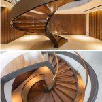 Mẫu cầu thang gỗ kính cường lực vượt qua mọi giới hạn