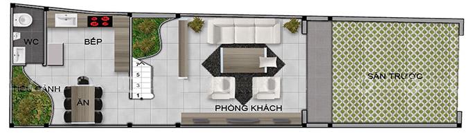 Mặt bằng tầng 1 mẫu thiết kế nhà phố 4 tầng có gác lửng