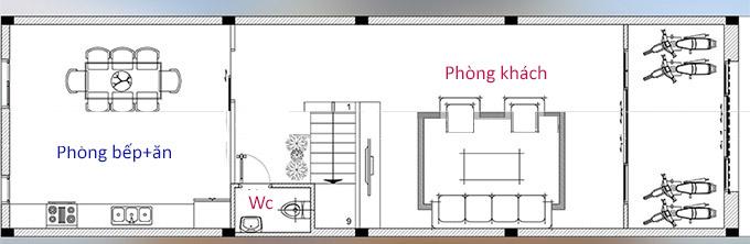 Mặt bằng công năng tầng 1 - Mẫu thiết kế nhà ống 4 tầng tân cổ điển